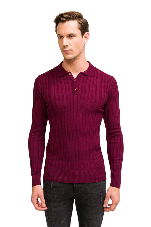 Ribbed L/S Polo - Burgundy