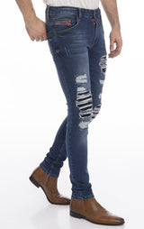 Rip And Patched Skinny Stretch Jeans - Navy - Ron Tomson