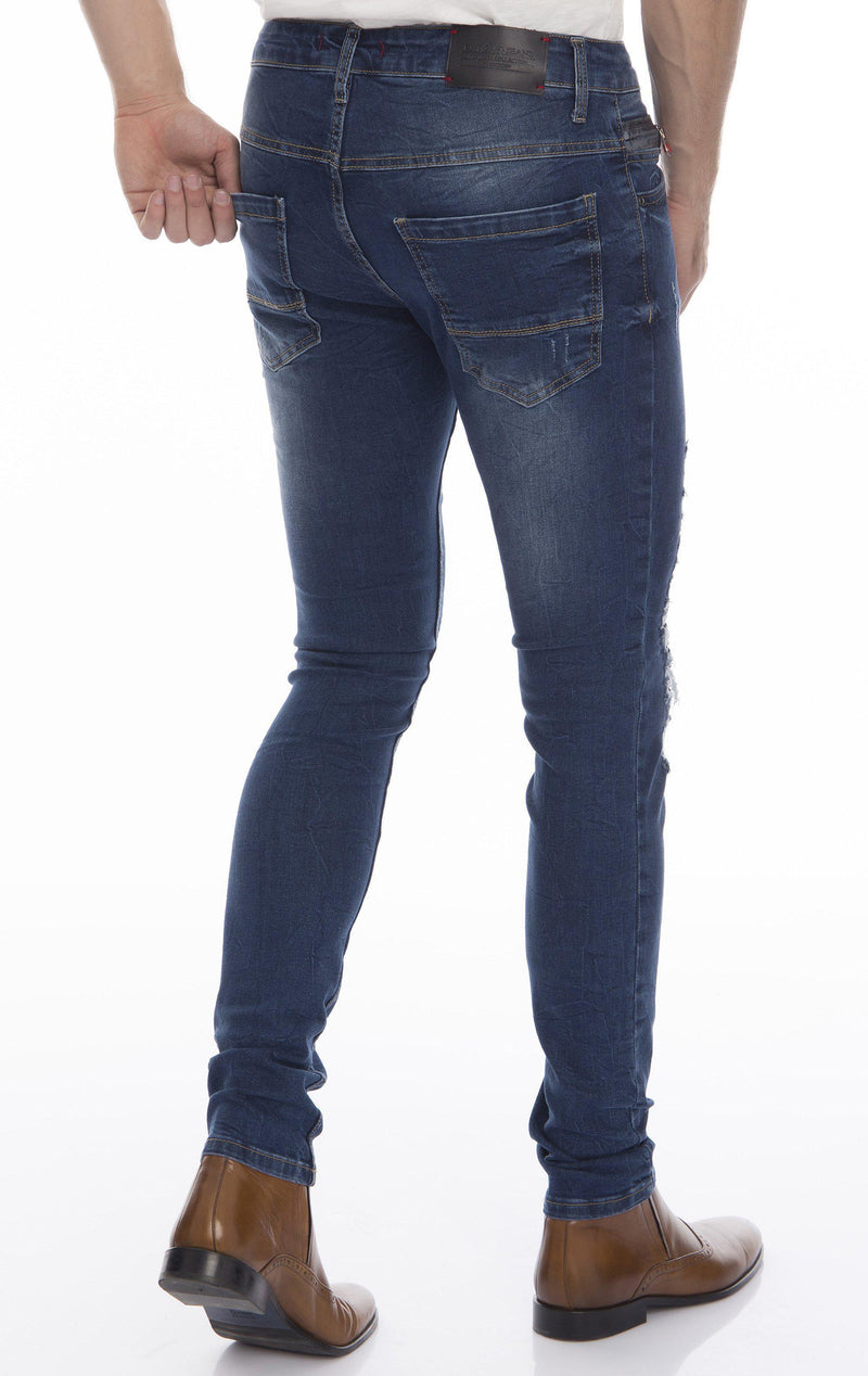 Rip And Patched Skinny Stretch Jeans - Navy