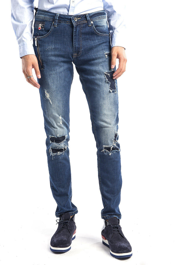 Rip and Repair Slim Fit Jeans - More Colors-Jeans-Ron Tomson-NAVY-29-Ron Tomson
