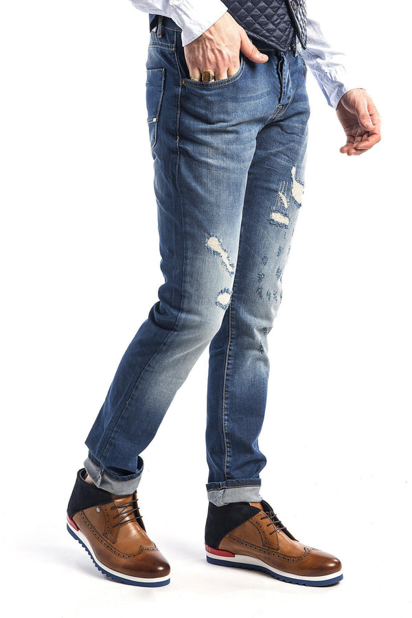 Ripped and Stitched Tapered Jeans - Navy - Ron Tomson