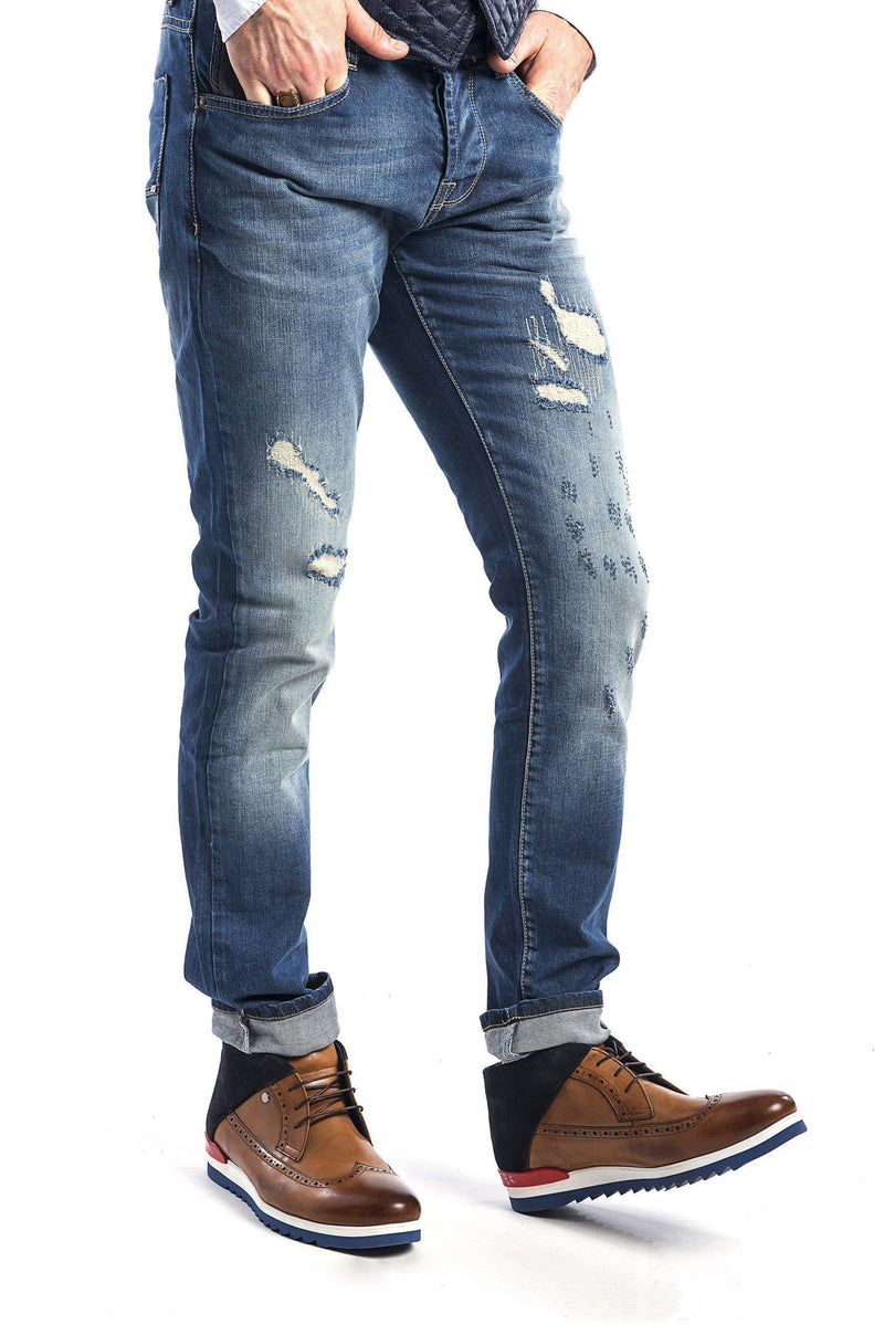 Ripped and Stitched Jeans - Navy-Jeans-Ron Tomson-NAVY-29-Ron Tomson