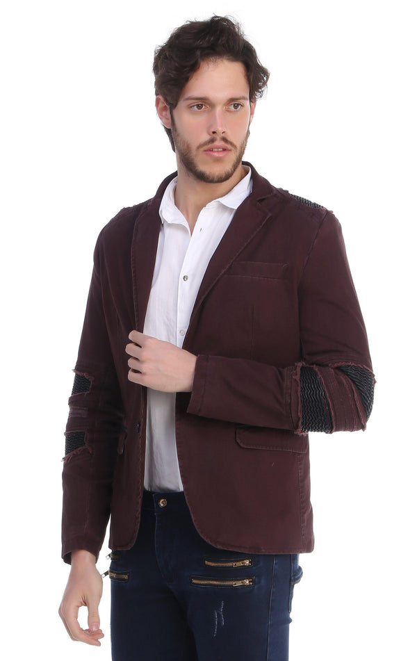 Ripped Patched Slim Fit Motorcycle Jacket - WINE - Ron Tomson