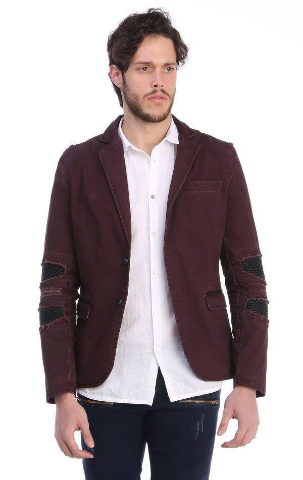 Ripped Patched Slim Fit Motorcycle Jacket - WINE