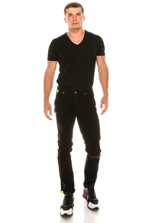 Ripped Washed Skinny Jeans - Black Green