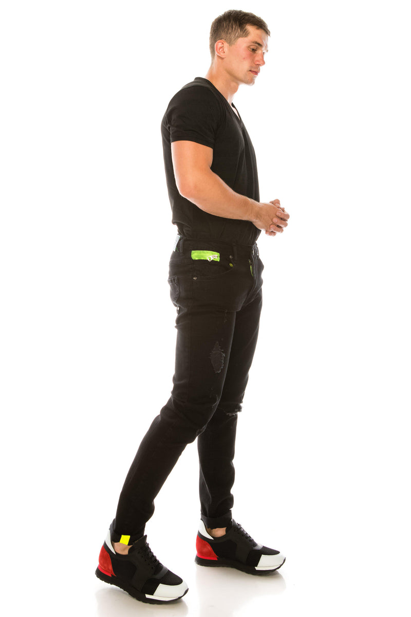 Ripped Washed Skinny Jeans - Black Green - Ron Tomson