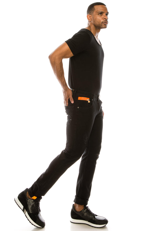 Ripped Washed Skinny Jeans - Black Orange - Ron Tomson