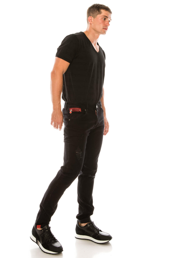 Ripped Washed Skinny Jeans - Black Red - Ron Tomson