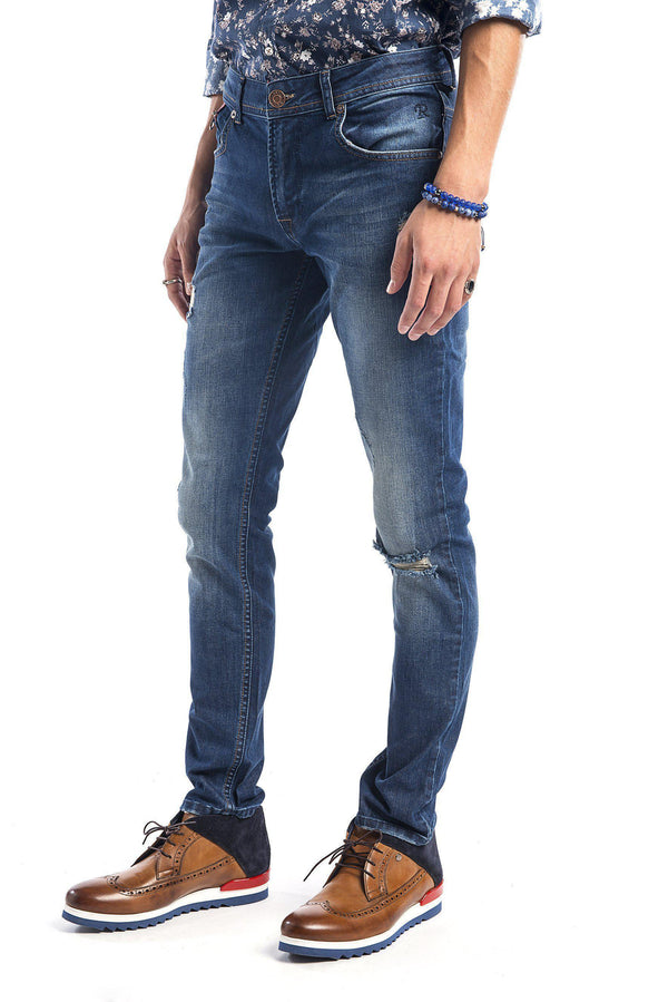 Ripped Washed Tapered Jeans - Navy-Jeans-Ron Tomson-NAVY-29-Ron Tomson