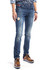 Ripped Washed Skinny Jeans - Navy - Ron Tomson