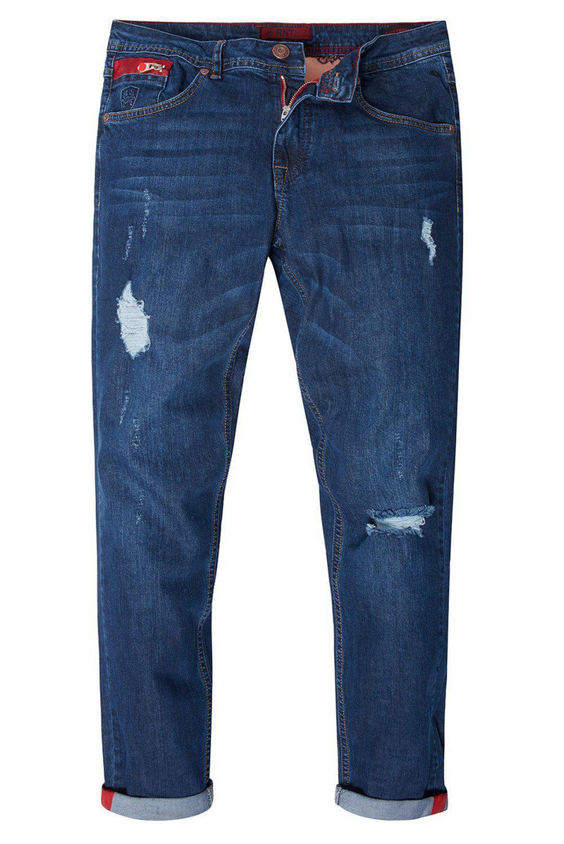 Ripped Washed Skinny Jeans - Navy Red - Ron Tomson