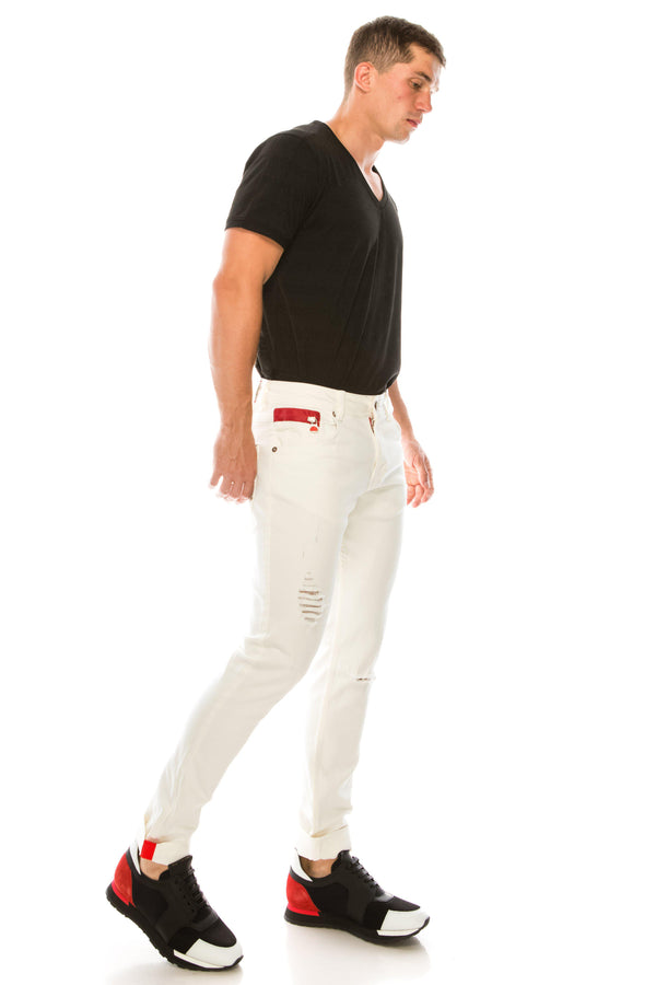Ripped Washed Skinny Jeans - White - Ron Tomson