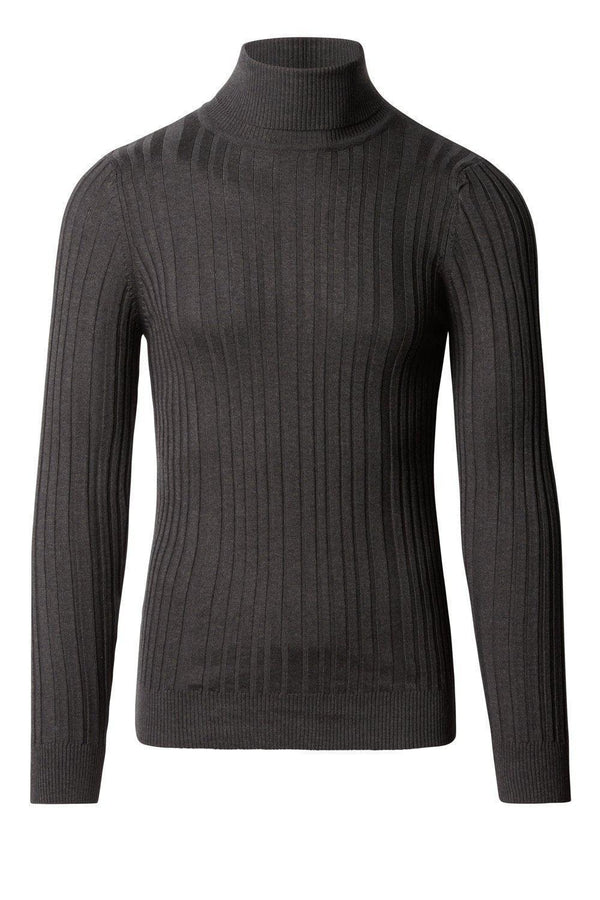 Roll Neck Ribbed Sweater - Anthracite
