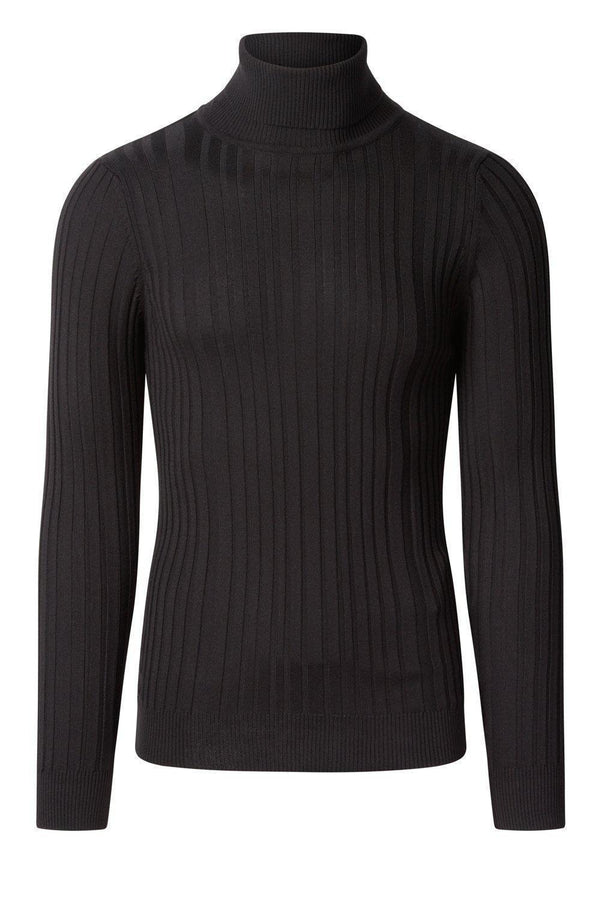 Roll Neck Ribbed Sweater - Black