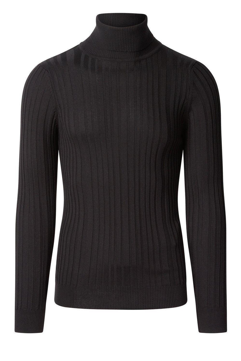 Roll Neck Ribbed Sweater - Black - Ron Tomson