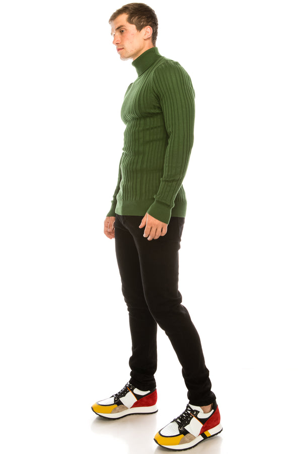 Roll Neck Ribbed Sweater - Green