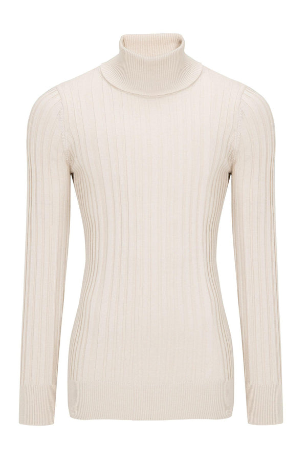 Roll Neck Ribbed Sweater - Light Beige