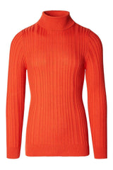 Roll Neck Ribbed Sweater - Tile - Ron Tomson