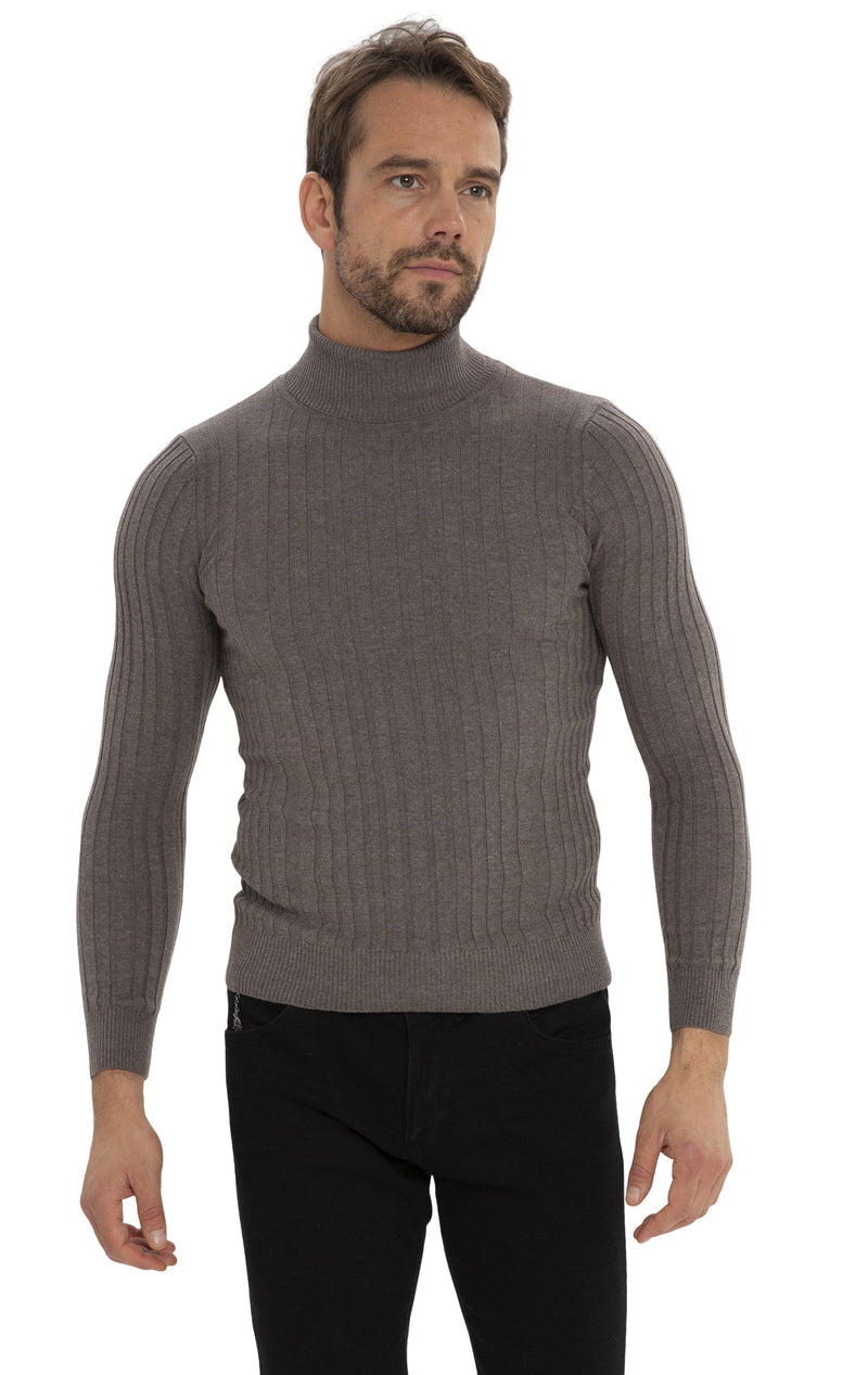 Roll Neck Ribbed Sweater - Vizon - Ron Tomson