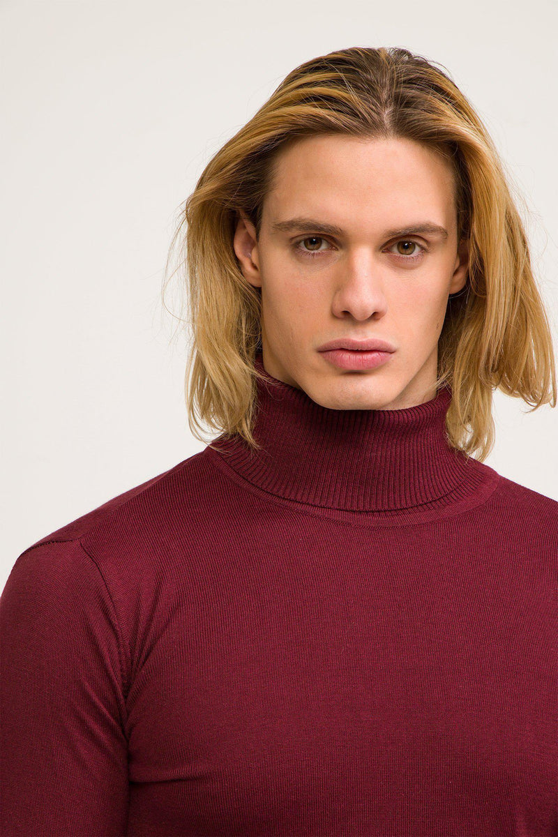 ROLLNECK SWEATER BURGUNDY - Ron Tomson