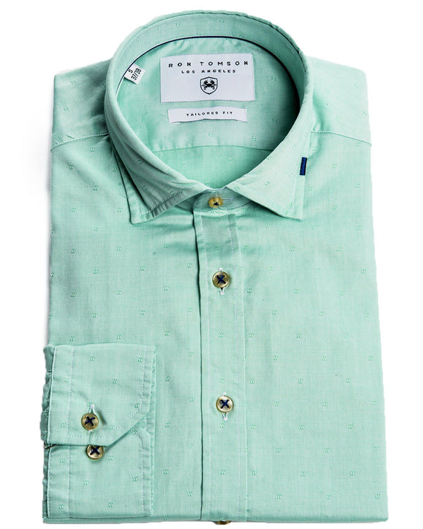 Ron Tomson Brand Textured Knit Shirt - More Colors-Shirts-Ron Tomson-GREEN-S-Ron Tomson