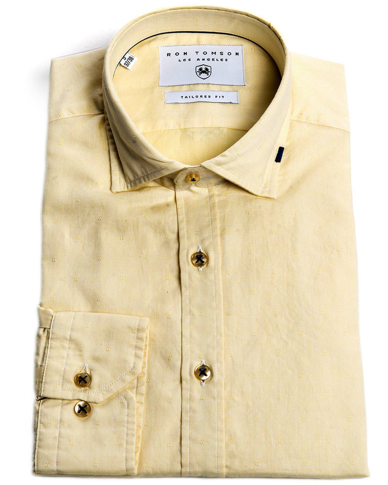 Ron Tomson Brand Textured Knit Shirt - More Colors-Shirts-Ron Tomson-YELLOW-S-Ron Tomson