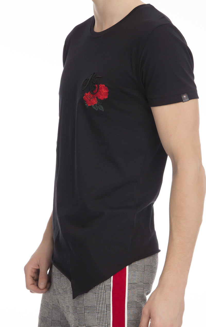Embroidered Fitted RT T-shirt-T-shirts-Ron Tomson-BLACK-S-Ron Tomson
