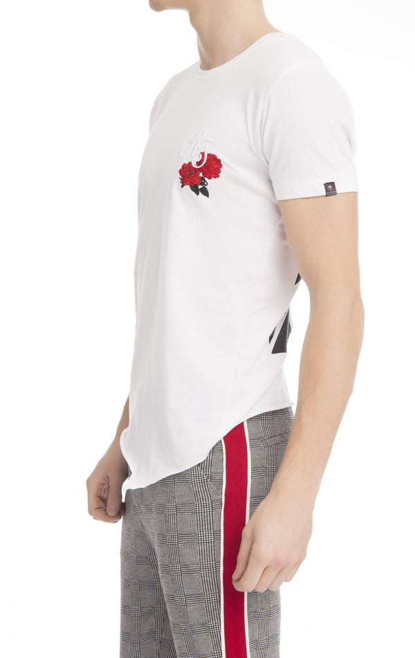 Embroidered Fitted RT T-shirt - White-T-shirts-Ron Tomson-WHITE-S-Ron Tomson