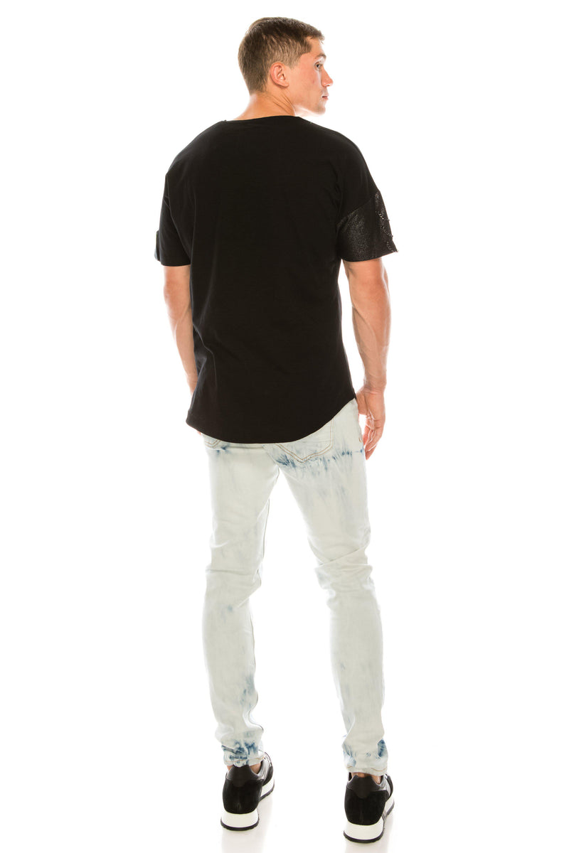 Round Neck Abstract T-shirt - Black - Ron Tomson