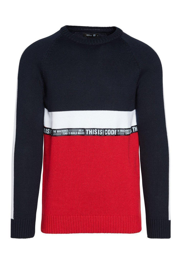 Rt Crsh Code Knit Long Sleeve - Red - Ron Tomson