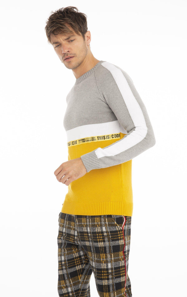 Rt Crsh Code Knit Long Sleeve - Yellow - Ron Tomson