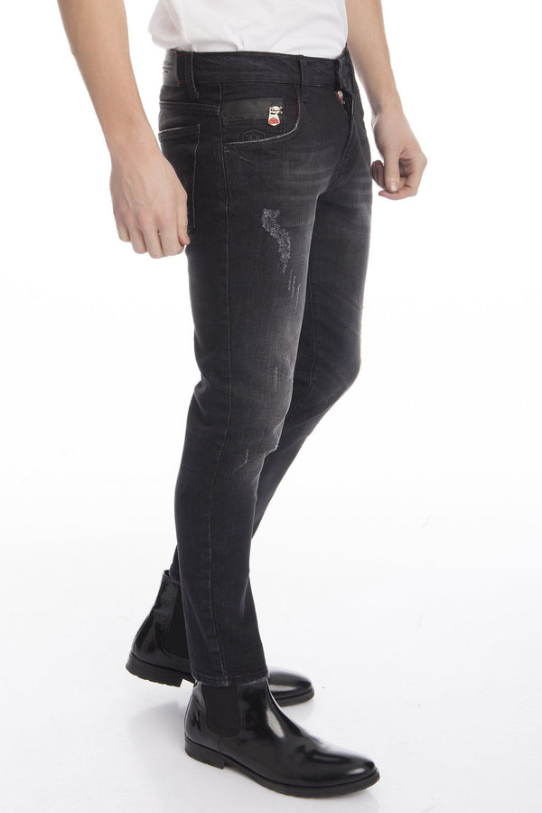 RT Distressed Stoned Slim Fit Denim  - Black - Ron Tomson