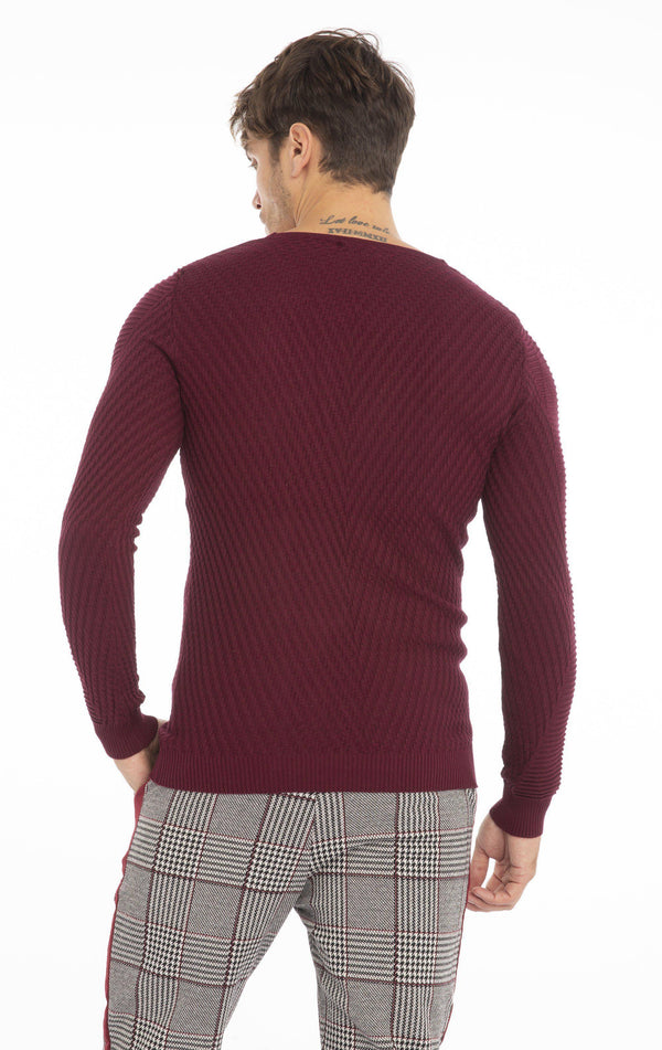 Rt Emboss Solid Knit Long Sleeve - Wine - Ron Tomson