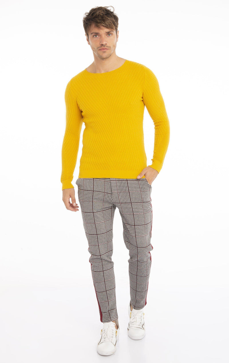 Rt Emboss Solid Knit Long Sleeve - Yellow - Ron Tomson