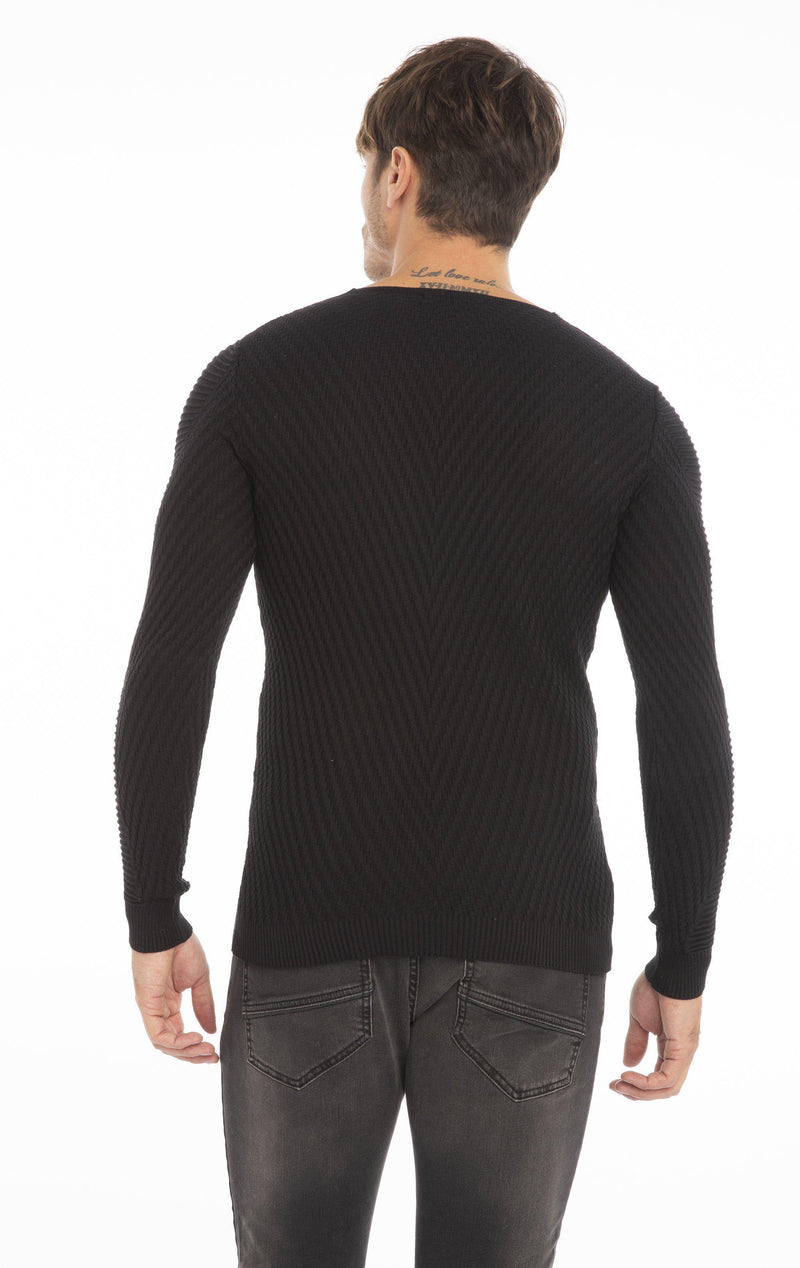 Rt Emboss Solid Knit Sweater - Black
