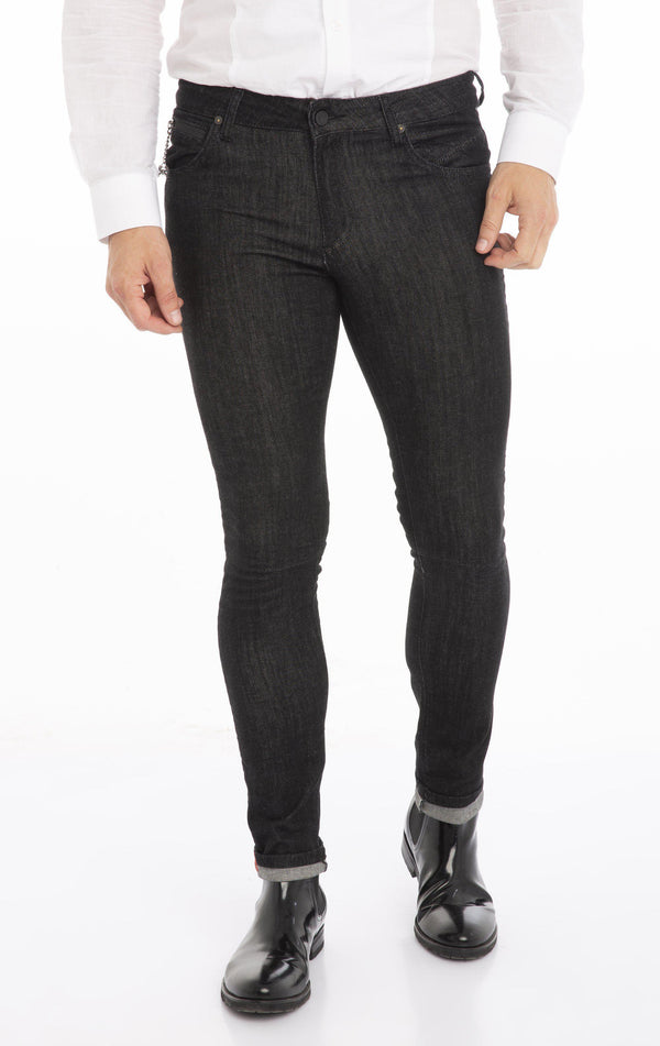RT Inner Red Skinny Denim - Black White - Ron Tomson