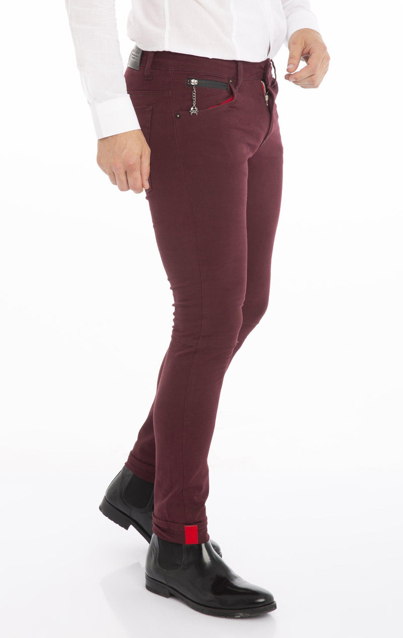 RT Inner Red Skinny Denim - Wine