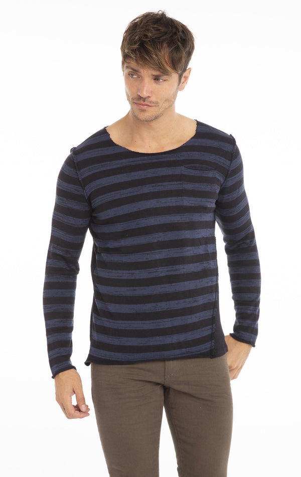Rt Raw Stripes Knit Long Sleeve - Navy - Ron Tomson