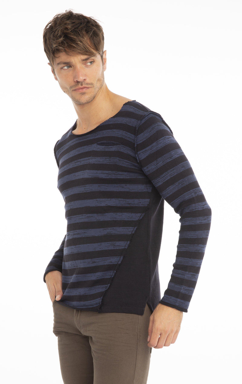 Rt Raw Stripes Knit Long Sleeve - Navy