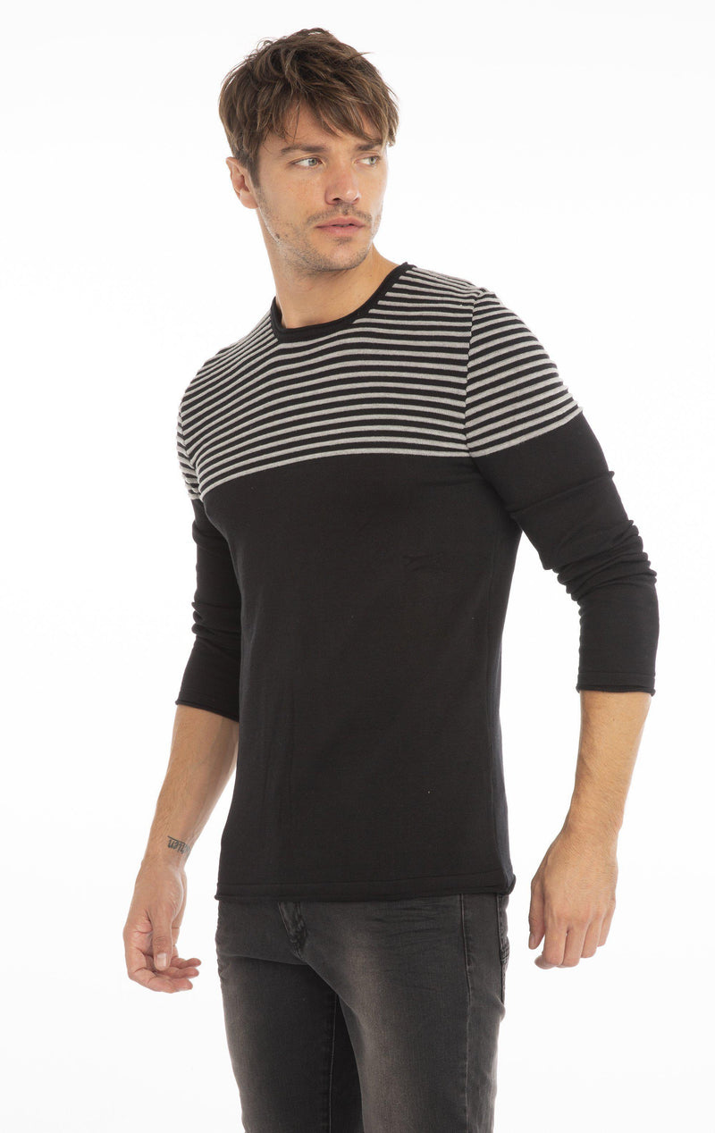 Rt Shoulder Stripes Knit Sweater - Black Melange