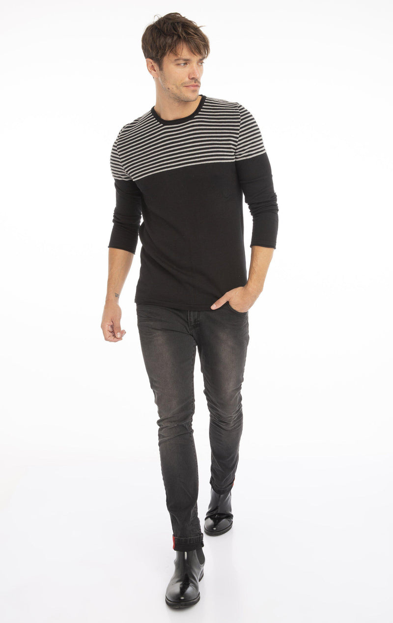 Rt Shoulder Stripes Knit Sweater - Black Melange - Ron Tomson