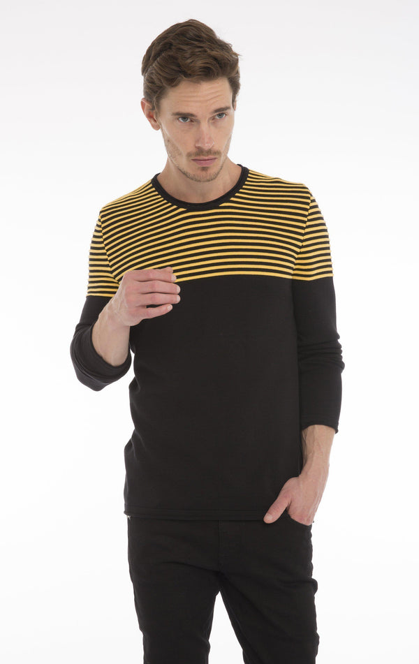 Rt Shoulder Stripes Knit Sweater  - Black Yellow - Ron Tomson