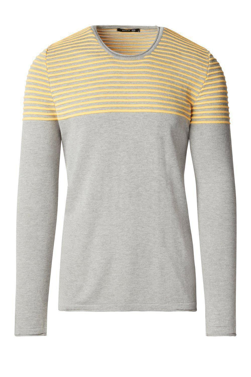 Rt Shoulder Stripes Knit Sweater- Grey Melange Yellow