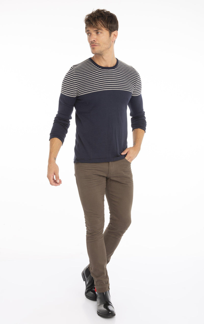Rt Shoulder Stripes Knit Sweater - Navy Grey - Ron Tomson