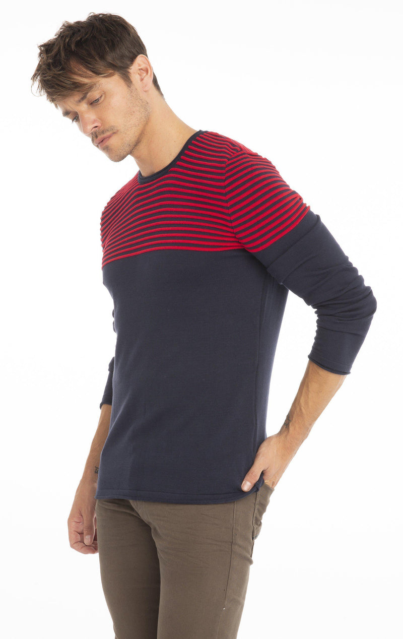 Rt Shoulder Stripes Knit Sweater - Navy Red - Ron Tomson