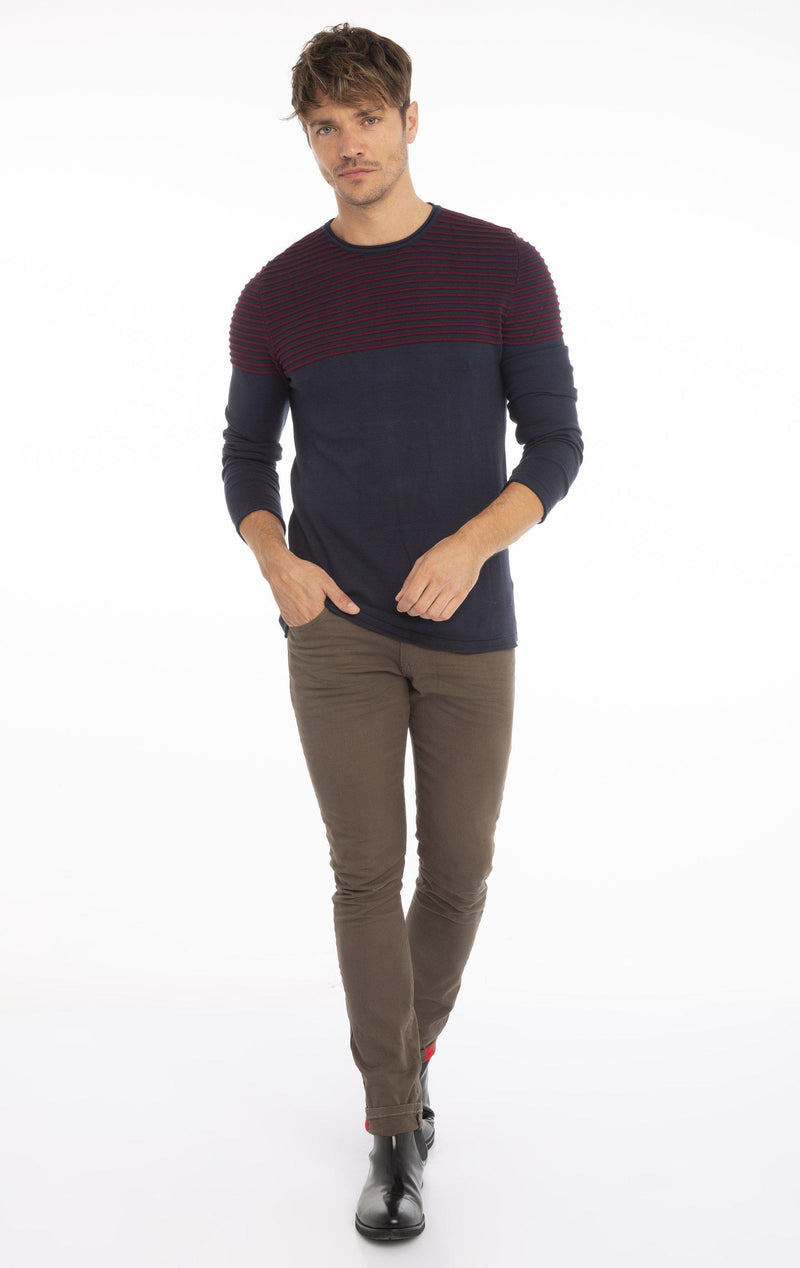 Rt Shoulder Stripes Knit Sweater  - Navy Wine - Ron Tomson