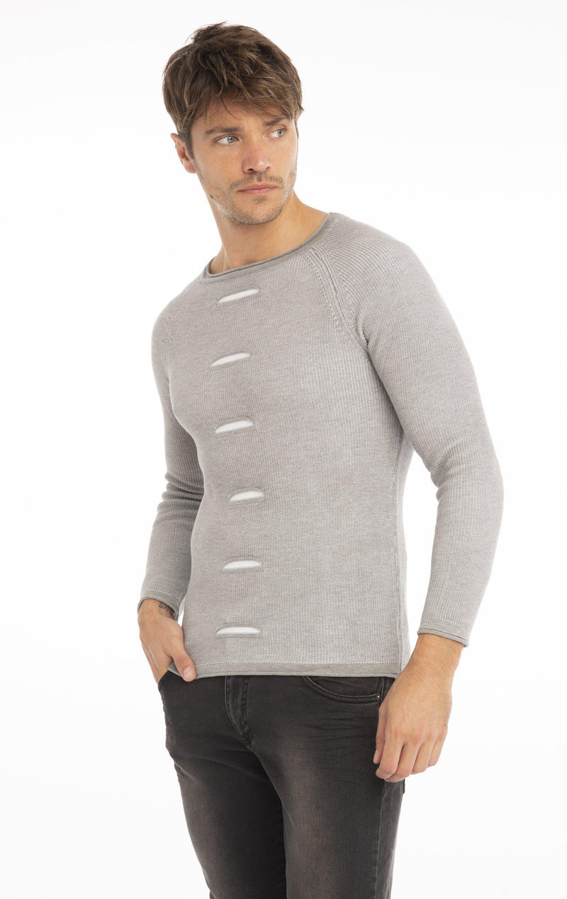 Rt Slit Knit Sweater - Grey Melange White