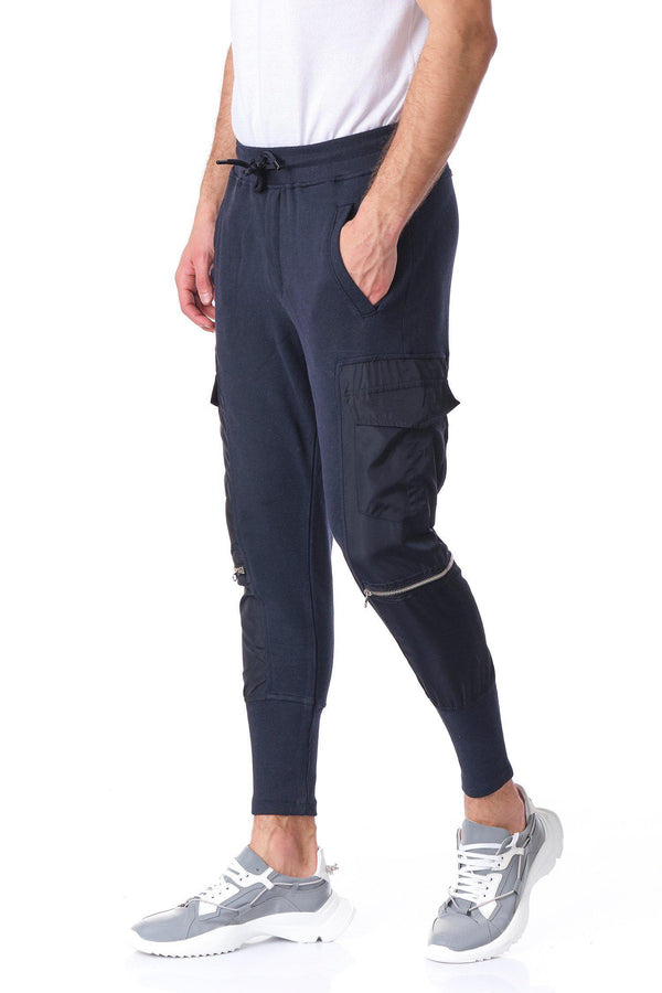 RT Sport Patched Fitted Joggers - Navy - Ron Tomson