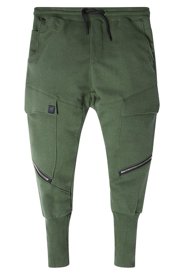 RT Sport Zippered Joggers - Khaki - Ron Tomson
