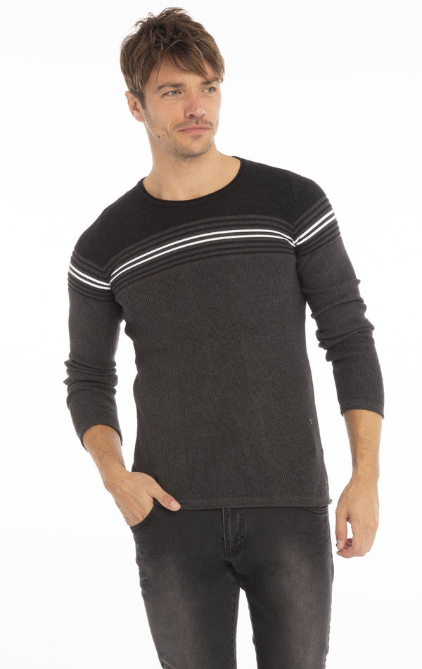 Rt Stripes And Stars Knit Sweater - Anthracite Black - Ron Tomson